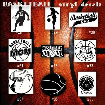 BASKETBALL vinyl decals - 28-36 - bball stickers - hoops car decal - custom window decal - personalized sticker