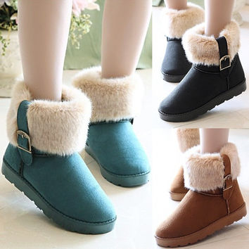 New Women Autumn Winter Snow Boots Ankle Boots Warm Faux Fur Shoes 3 Colors Hot  D_L = 1713250628