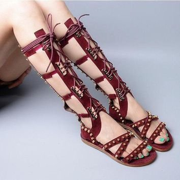 Fashion Trend Summer Vocation Shoes Women Lace Up Flat Sandal Boots Vintage Rivets Embellished Gladiator Strappy Sandal