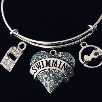 Blue Heart Swimmer Jewelry Crystal Whistle Swim Coach Adjustable Bracelet Expandable Silver Charm Bangle One Size Fits All Gift