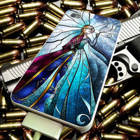 Elsa and Anna Disney Frozen Stained Glass for iPhone 4/4s/5/5s/5c/6/6 Plus Case, Samsung Galaxy S3/S4/S5/Note 3/4 Case, iPod 4/5 Case, HtC One M7 M8 and Nexus Case ***