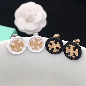 Tory Burch white stud double T round stud black and white oil earrings