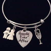 Happily Ever After Silver Expandable Charm Bracelet Wedding Bride Groom Champagne Adjustable Wire Bangle Shower Bridal Trendy Gift