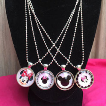 Minnie Mickey Birthday Party Favors,Minnie Necklaces, Minnie Mouse Jewelry, Party Favor Necklaces