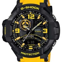 Casio G-Shock GRAVITYMASTER Aviator Watch - Black & Yellow - Anti-Magnetic