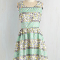 Mid-length Sleeveless A-line Tea Fleur Two Dress by ModCloth