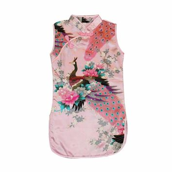 Baby Girl Dress Peacock Cheongsam Chinese Qipao Kids Baby Clothes 2-8Years