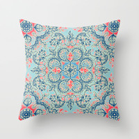 Gypsy Floral in Red & Blue Throw Pillow by micklyn
