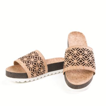 Tile Patterned Beige Platform Cork Sandals