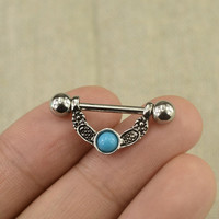 Nipple ring turquoise nipple ring nipple piercing,pair of nipple rings
