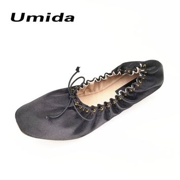 Umida Brand Fashion Silk Women Ballerina Flats Genuine Leather Women Shoes Flats Roll Up Foldable Ballets Hot Flat Shoes Women