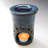 Blue Essential Oil Diffuser, Aromatherapy Oil Burner - Hand-Carved Ceramic Warmer