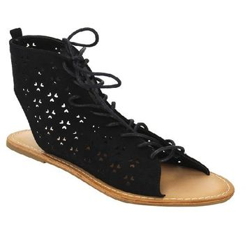 New Women Perforated Laser-out Lace Up Front Flat Ankle Sandals