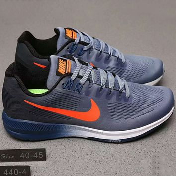 Nike AIR ZOOM  STRUCTURE21 Men Running Sport Fashion Casual Shoes Sneakers Sapphire Blue Soles Grey Orange hook G-A0-HXYDXPF