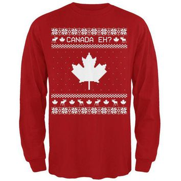 ONETOW Canadian Canada Eh Ugly Christmas Sweater Mens Long Sleeve T Shirt