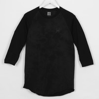 HUF Crystal Wash Script Ragland Long Sleeved Tee-Shirt Black