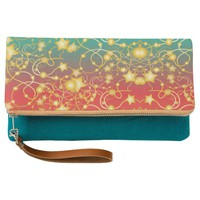 Golden Stars and Circles on A Gradient Background Clutch