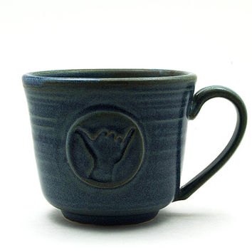 Hang Loose Coffee Mug: Blue Shaka Ceramic Cup, Cool Gift for Surfers, Unique Handmade Pottery Gift for Him or Her - Made to Order