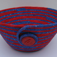 Coiled Fabric Basket, Coiled Fabric Bowl, decorative bowl, red/blue