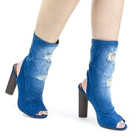 Brenna3 By X2B, Destroyed Jean, Peep Toe Block Heel High Ankle Dress Bootie w Torn Hole