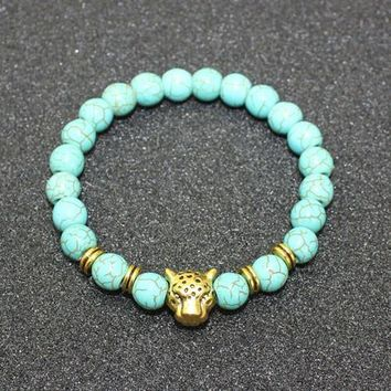 8mm Natural Turquoise Stone Beads Bracelet for Women,Antique Silver and Gold Lion/Buddha/Leopard/Skull Bracelets Mens Jewelry vintage gold leopard