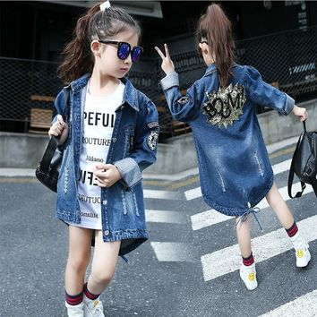 Trendy 2016 New autumn Girl Coat Print denim Button Trench children Jacket long Sleeve Toddler kids girl outwear for 9 10 11 13 years AT_94_13