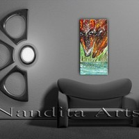 """Twin Horse Art, """"Two Souls Together"""" Abstract horse painting on canvas by Nandita Albright"""