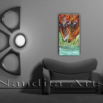 "Twin Horse Art, ""Two Souls Together"" Abstract horse painting on canvas by Nandita Albright"