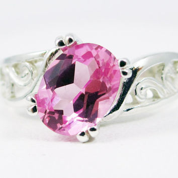 Pink Sapphire Oval Filigree Sterling Silver Ring