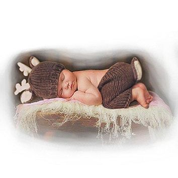 A Newborn Baby Photography Props Outfits Lovely Boy Crochet Knitted Hat Pant Girl