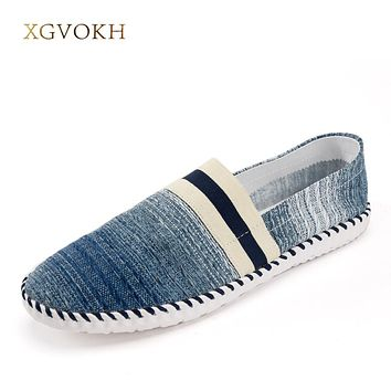 Men Breathable Handmade Canvas Shoes Spring Striped Slip On Light Casual Driving Flat With Boat Shoes