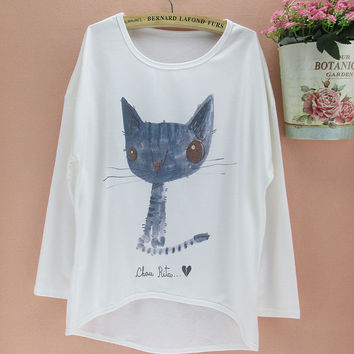 Lovely Cat & owl pattern t-shirts women long batwing sleeve tshirt for girls 2015 new design female top tees free shipping