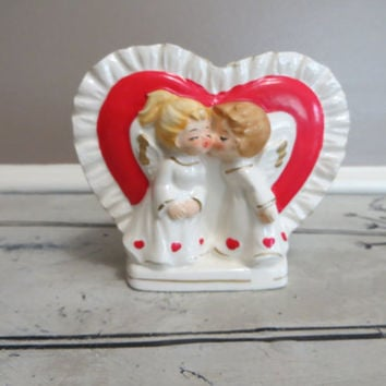 Vintage Lefton Planter Heart Planter Angels Kissing Lefton Vase Heart Vase Anniversary Gift Valentine Gift 967 Collectible Planter