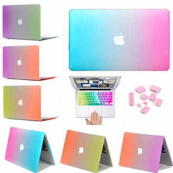 Fashion Colorful Surface Matte Rainbow Case For Fandas Macbook Air Pro Retina 11.6 12 13.3 15.4 inch Laptop Cover For Mac book