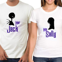 Personalized Couples Nightmare Before Christmas Tanks / Customized Couples Disney Shirts / Her Jack His Sally / Pumpkin King