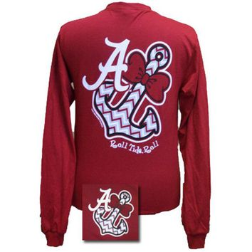 New Alabama Crimson Tide Chevron Anchor Bow Bright Long Sleeve T Shirt Day-First™
