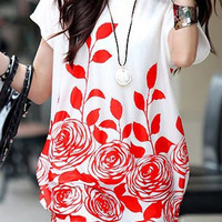 White Short Sleeve Mini Dress with Red Floral Print