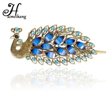 Haimeikang Fashion Natural Stone Peacock Shaped Hairpin Duckbill Clips for Women Girls Shiny Rhinestone Hair Clip Accessories
