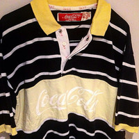 Vintage 80's Coca Cola Striped Polo Shirt Size L black yellow