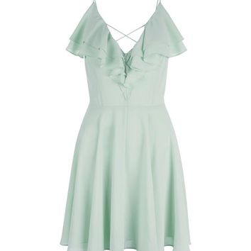 Mint Green Frill Trim Cross Strap Skater Dress