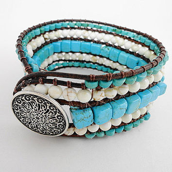 Turquoise beaded leather cuff bracelet - leather wrap - 5 row cuff - bohemian jewelry - southwestern leather bracelet