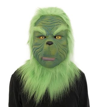 Hot Sale Cosplay Christmas Grinch Mask Green Fur ships from US