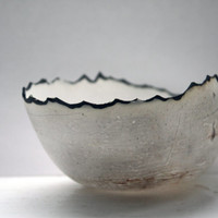 Pure white English fine bone china stoneware bowl with black organic rims