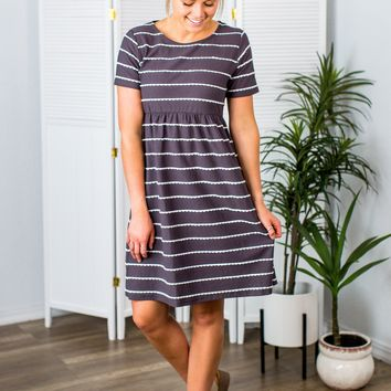 Courtney Charcoal Ribbed Dress