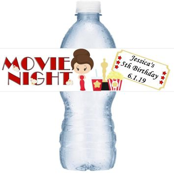 21 Personalized Movie Oscar Night Birthday Party Water Labels Brown Hair
