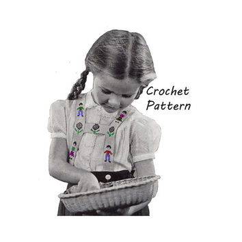 1940s Girl's or Child's Suspenders with Embroidery Crochet Pattern Sz 2- 10 || Vintage Reproduction Printed Pattern 5141-175