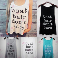 Fashion Summer Women Boat Hair Don't Care Printed Alphabets Words Top Women Tank Vest Shirt _ 6091