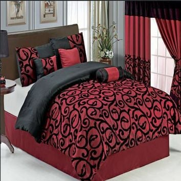 Candice Burgundy 11-Piece Bed in a Bag