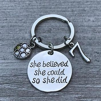 Personalized Soccer She Believed She Could Keychain