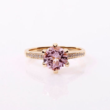 Pink tourmaline ring, diamond, yellow gold, Engagement ring, solitaire, Pink engagement, light pink gemstone, morganite alternative